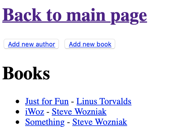 Main page for book listing