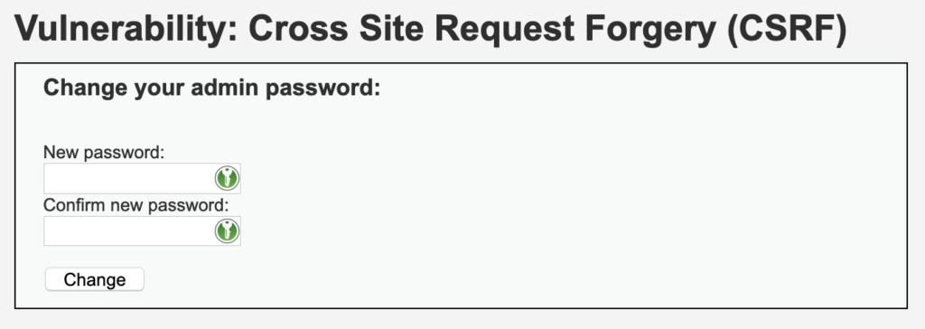DVWA's password change form