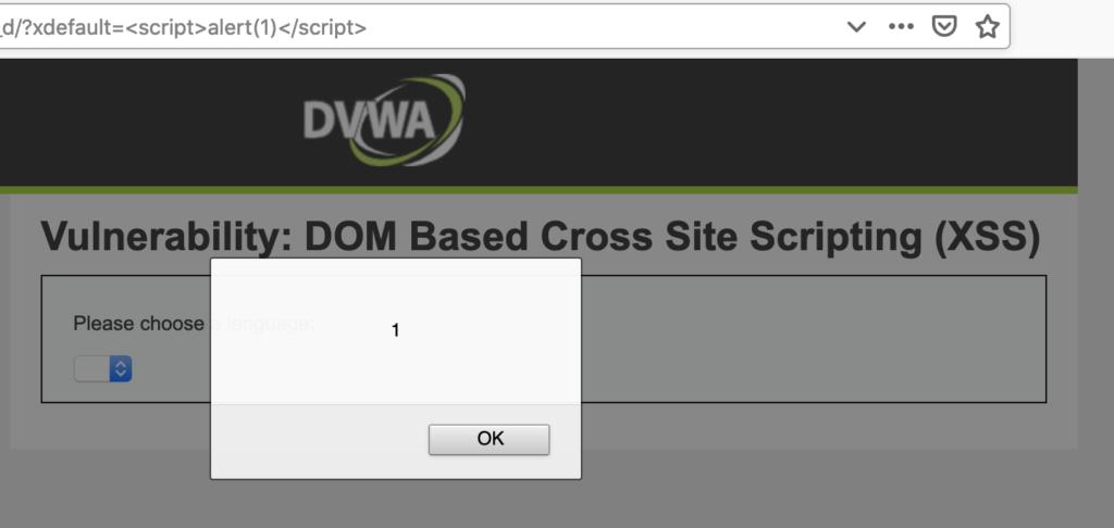 DOM XSS exploited with xdefault=<script>alert(1)</script>