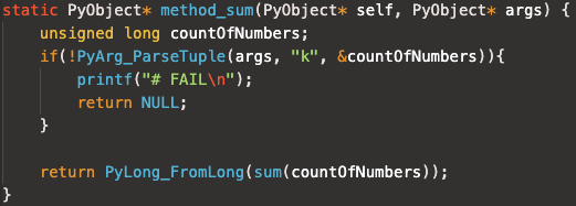 Python C module source code