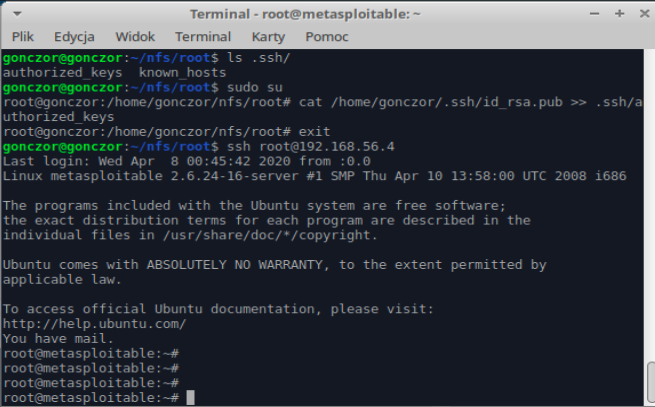 Adding ssh key to metasploitable's root authroized_keys and logging in
