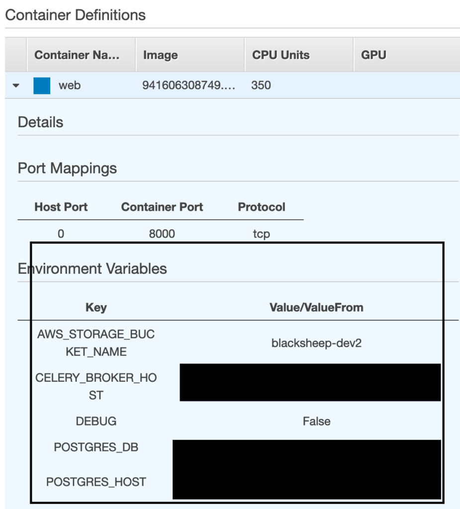 AWS ECS console with marked environment variables