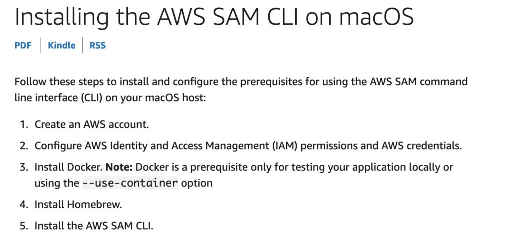 SAM CLI installation instructions.