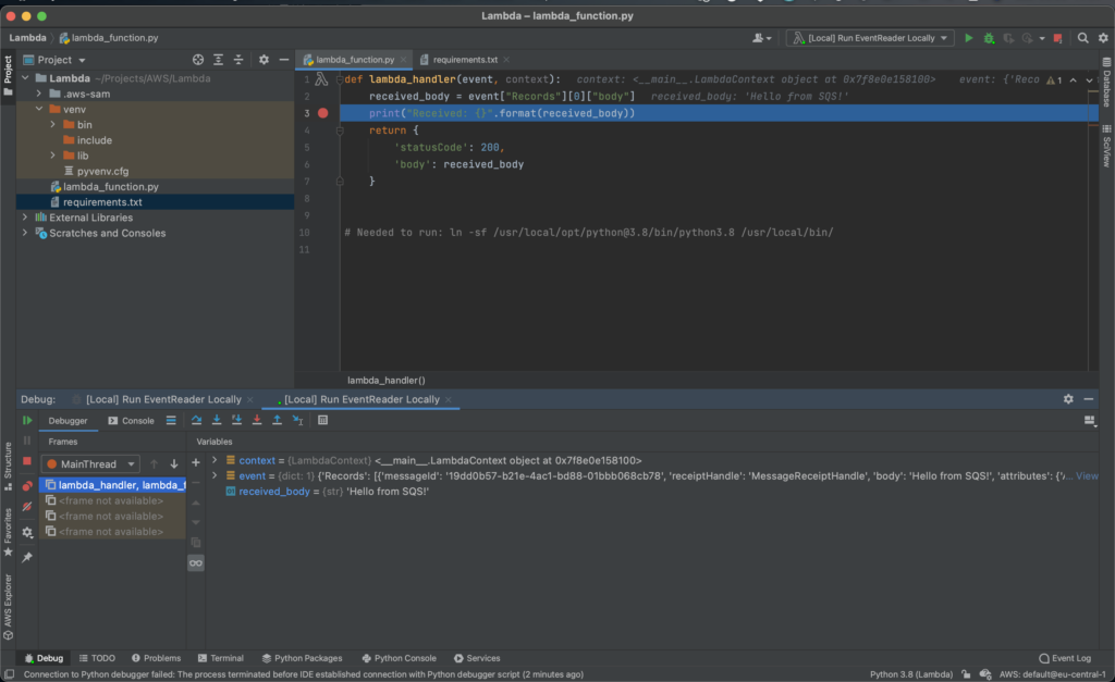 PyCharm's debugger on a trap while executing example Lambda event.