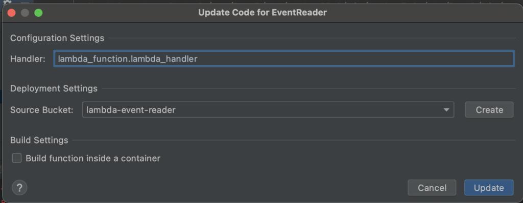 Setting up lambda code update